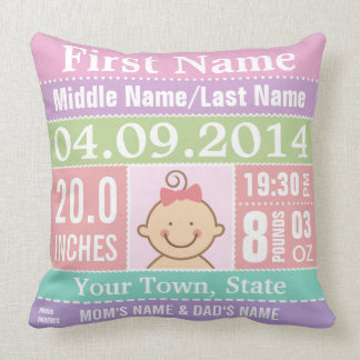 Personalize Baby Girl Birth Stats Throw Cushions