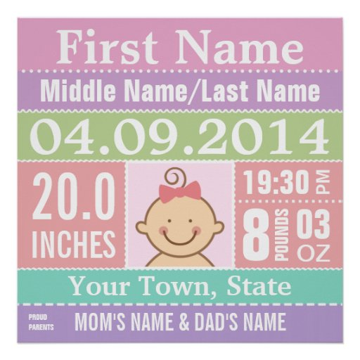 Personalize Baby Girl Birth Stats Print