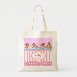Personalize Baby Girl Cartoon Bears Tote Bag