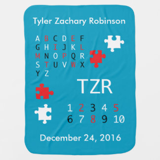 Personalize Baby High Contrast Letters and Numbers Baby Blanket