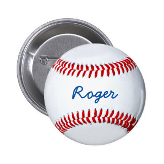 Personalize Baseball Fan Custom Name Tag Pinback Button
