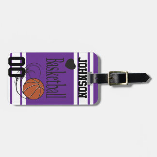 Personalize Basketball Dark Purple and White Luggage Tag