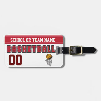 Personalize Basketball Dark Red and White Luggage Tag