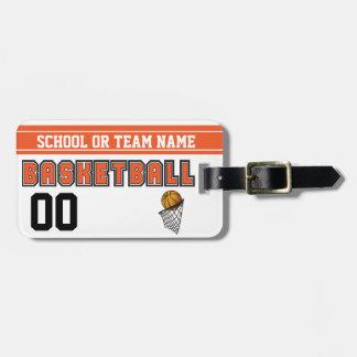 Personalize Basketball Orange and Black Luggage Tag