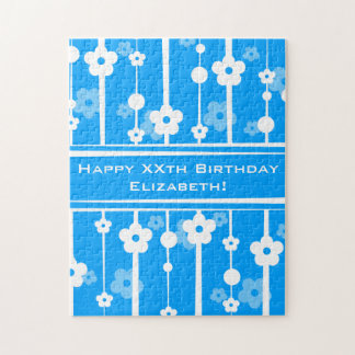 Personalize Beautiful Blue Modern Happy Birthday Jigsaw Puzzle