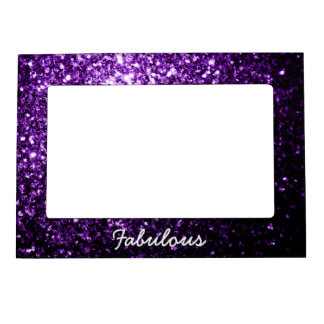Personalize Beautiful Dark Purple glitter sparkles Magnetic Frame
