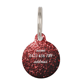 Personalize Beautiful Glamour Red Glitter sparkles Pet Nametag