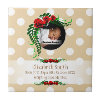 Personalize Beige Baby Girl Memento Roses Pearls Small Square Tile