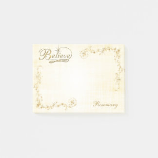 """Personalize:  """"Believe"""" Typography/Gold Stars Post-it Notes"""