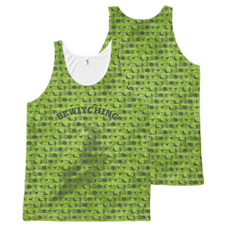 "Personalize: ""Bewitching"" Black/Green Fun Font Art All-Over Print Singlet"