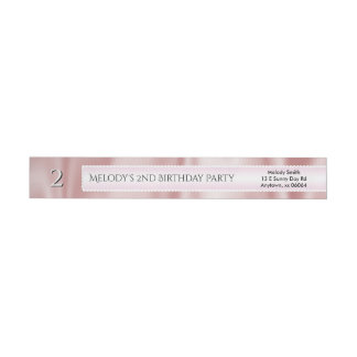 Personalize Birthday Faux Girly Pink Satin Fabric Wrap Around Label