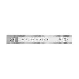 Personalize Birthday Faux Gray Satin Fabric Wrap Around Label