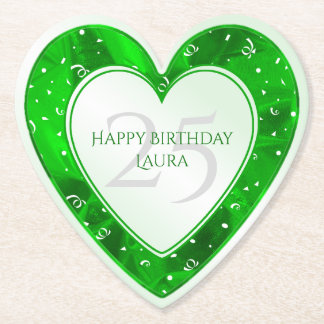 Personalize Birthday Faux Green Metallic Heart Paper Coaster