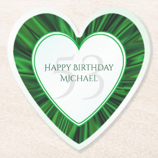 Personalize  Birthday  Faux Green Satin Heart Paper Coaster