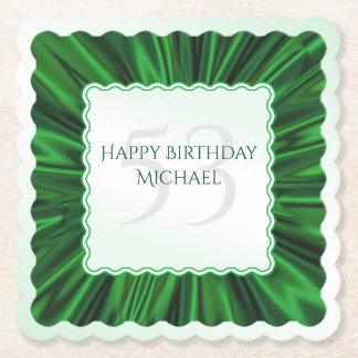 Personalize  Birthday  Faux Green Satin Scalloped Paper Coaster