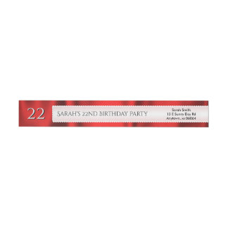 Personalize Birthday Faux Red Satin Fabric Wrap Around Label