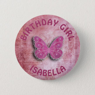 Personalize Birthday Girl Butterfly Button
