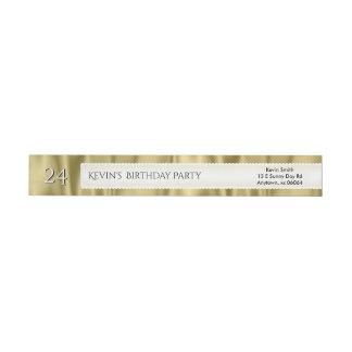 Personalize Birthday Gold Faux Satin Luxury Fabric Wrap Around Label