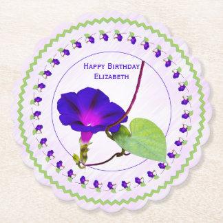 Personalize:  Birthday Purple Morning Glory Pics Paper Coaster