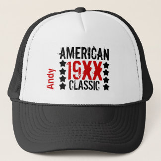 Personalize Birthday Year Name BLACK RED WHITE V01 Cap