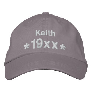 Personalize Birthday Year Name GRAY and WHITE V27 Embroidered Hat