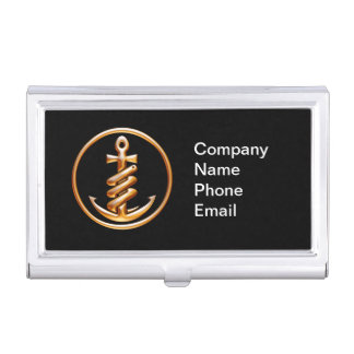 (Personalize) Black and Gold Anchor Business Card Holder