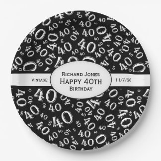 Personalize:  Black and White 40th Birthday Theme Paper Plate