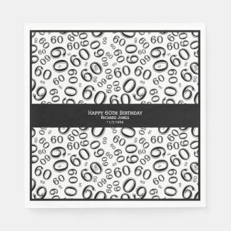 Personalize:  Black and White 60th Birthday Theme Disposable Napkins