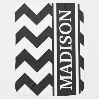 Personalize Black and White Chevron Stripe Pattern Buggy Blankets