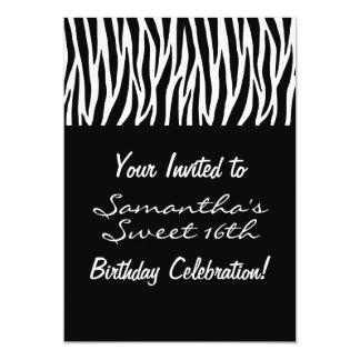 Personalize Black and White Zebra 13 Cm X 18 Cm Invitation Card