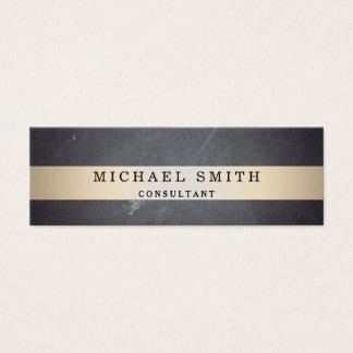 Personalize Black Chalkboard Faux Gold Striped Mini Business Card