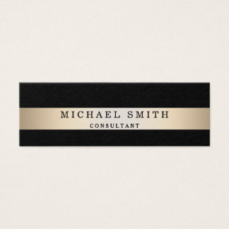 Personalize Black Faux Gold Foil Striped Mini Business Card