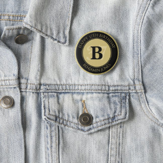 Personalize: Black/Gold Bold Initial and Age 6 Cm Round Badge