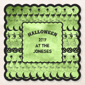 Personalize: Black/Lime Green Halloween Font Art Paper Coaster