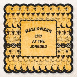 Personalize: Black/Orange Halloween Font Art Paper Coaster
