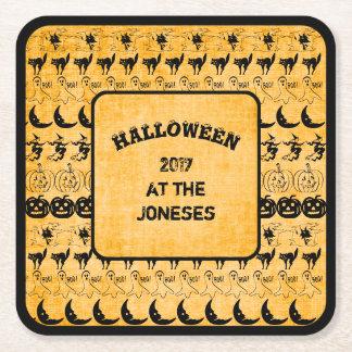 Personalize:  Black/Orange Halloween  Fun Font Art Square Paper Coaster