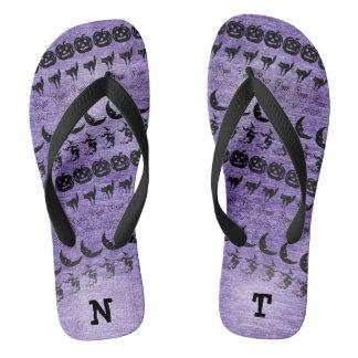 Personalize: Black/Purple Halloween Font Art Thongs