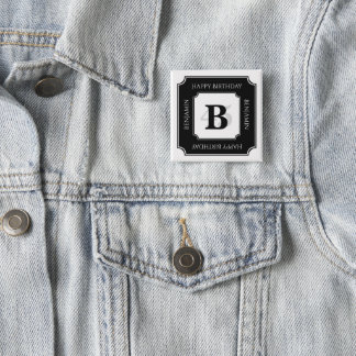 Personalize: Black/White Bold Initial and Age 15 Cm Square Badge