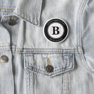 Personalize: Black/White Bold Initial and Age 6 Cm Round Badge