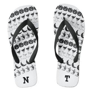 Personalize: Black/White Halloween Font Art Thongs