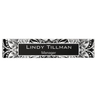 Personalize, Black & White Paisley Design Nameplate