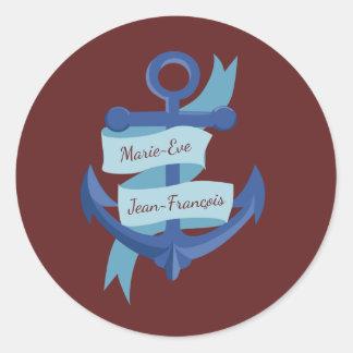 Personalize Blue Anchor Wedding Round Sticker
