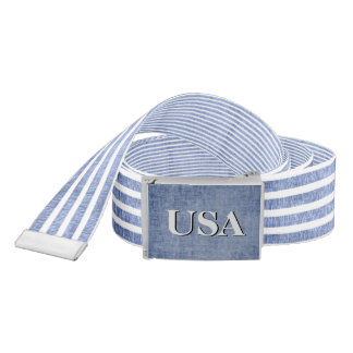 Personalize:  Blue and White Patriotic Stripes Belt