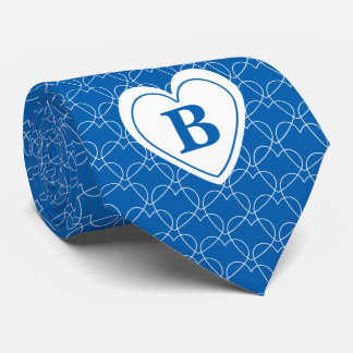 Personalize: Blue Initial Minimal Hearts Pattern Tie