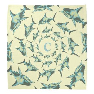 personalize blue sharks in circles bandana