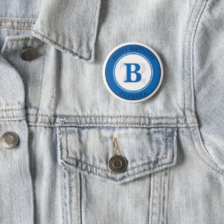 Personalize: Blue/White Bold Initial and Age 6 Cm Round Badge