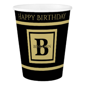 Personalize Bold Initial Minimalist Black/Gold Paper Cup