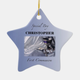 Personalize, Boy, First Communion Blue Ceramic Ornament