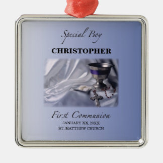 Personalize, Boy, First Communion Blue Metal Ornament