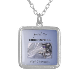Personalize, Boy, First Communion Blue Silver Plated Necklace